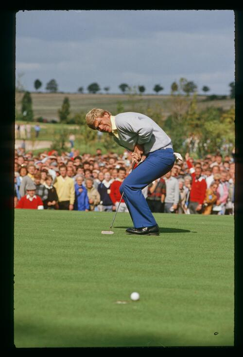 American Hal Sutton just misses his putt at the 1985 Ryder Cup at The Belfry