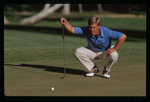 Hal Sutton lines up his putt at the 1989 Ronald McDonald Children's Charity Golf Tournament