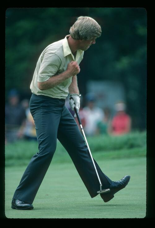 Hal Sutton holes his putt to win the 1983 USPGA