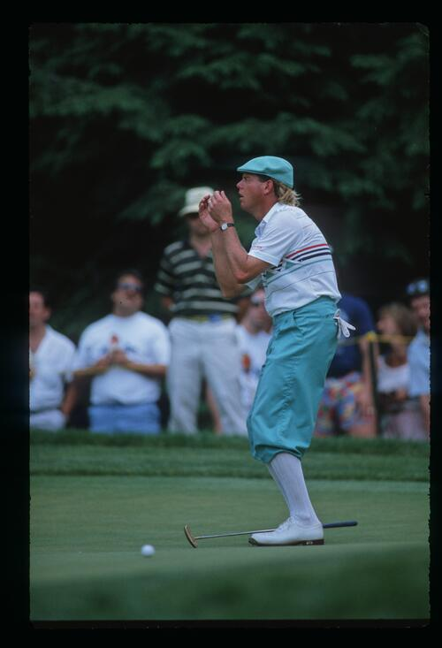 Payne Stewart cannot believe he missed his putt at the 1988 United States Open Championship