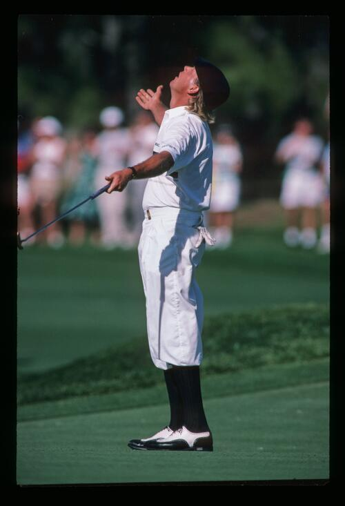 Golfer Payne Stewart looks to the heavens at the 1988 Players Championship at Sawgrass
