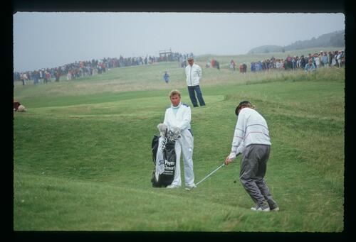 American golfer Payne Stewart pitches out of the rough at the 1987 Open Championship