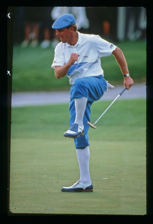 PAyne Stewart dances for joy as he wins the 1987 Hertz Bay Hill Classic