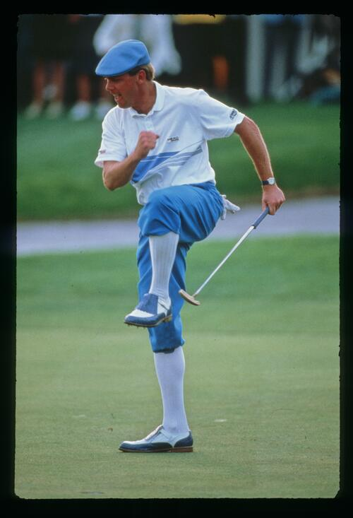 Payne Stewart jumps for joy as he wins the Bay Hill Classic