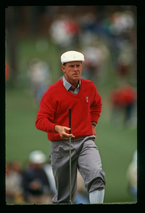 Payne Stewart approaches the green with determination at the 1989 Masters Championship