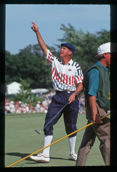 Golfer Payne Stewart claims the victory at the 1991 United States Open Championship