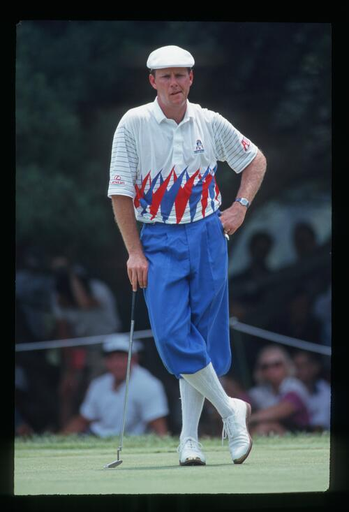 Payne Stewart considers his putt at the 1993 United States Open Championship at Baltusrol