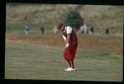 American golfer Payne Stewart lobs his approach to the green at the 1992 Open Championship