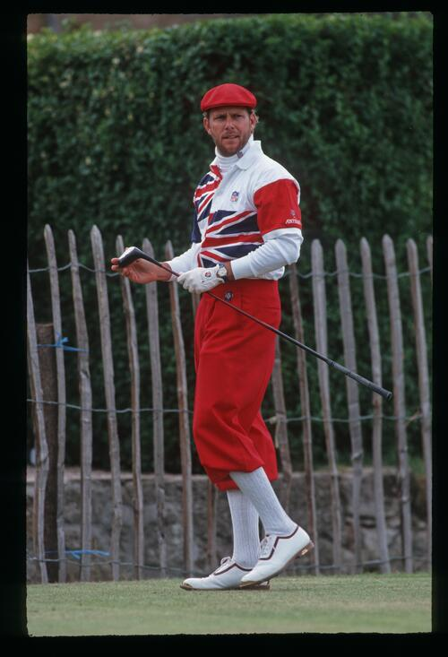 American Payne Stewart wearing British colours on the tee at the 1992 Open Championship at Muirfield
