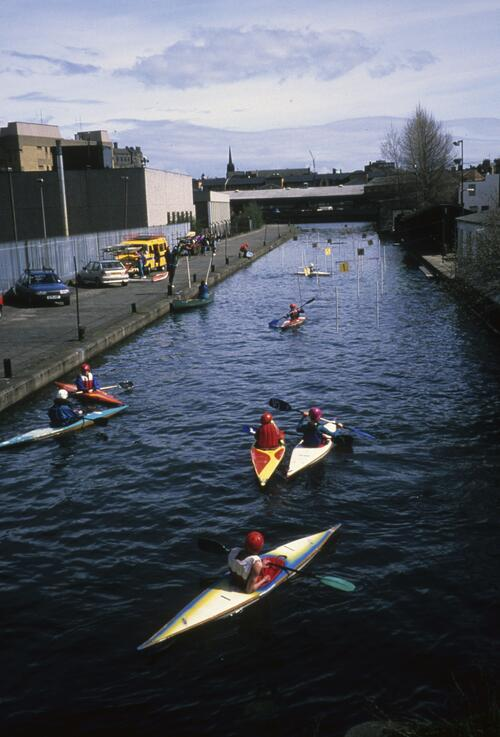 [Canoeists on the Union Canal, Edinburgh].