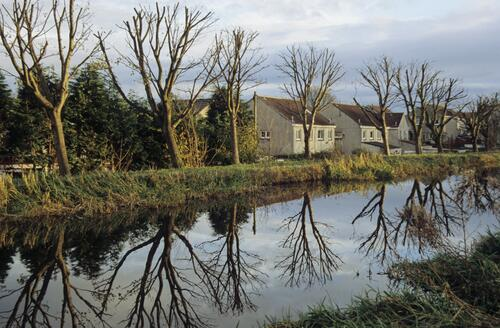 Winter reflections on the Union Canal at Broxburn.