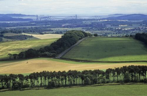The Forth bridges from near Falkirk.