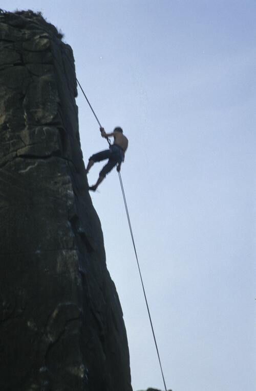 Rock climbing, ?Forth and Clyde Canal.