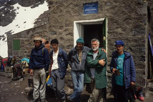 Group at Neltner (Toubkal) Hut, Ali on right Hamish Brown, 2nd on right.