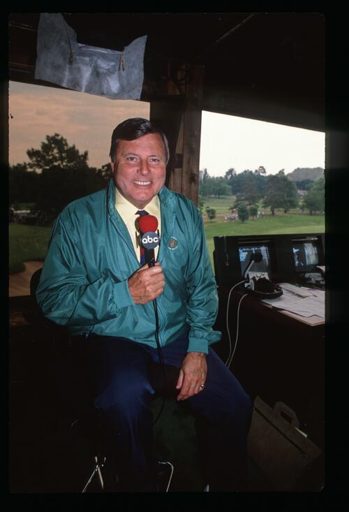 Sports commentator Peter Alliss at work in the ABC broadcasting booth at the 1989 United States Open Championship at Oak Hill