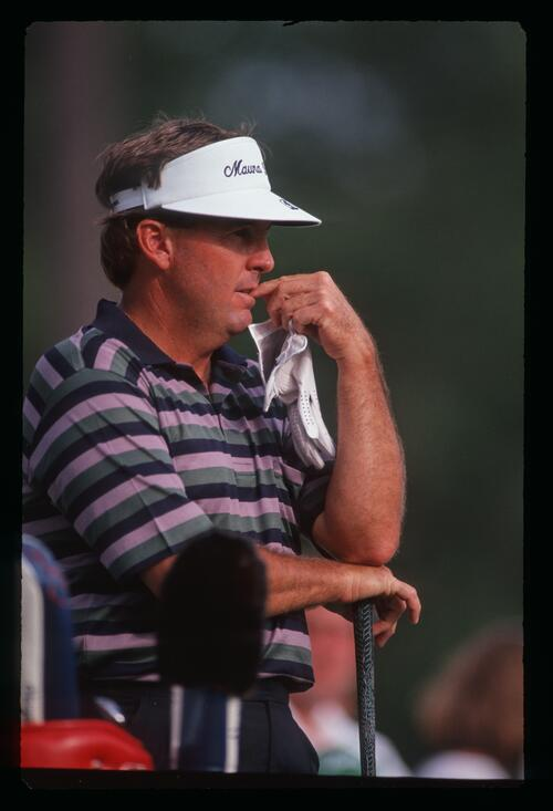 A pensive Lanny Wadkins considers his shot at the 1991 Masters Championship at Augusta