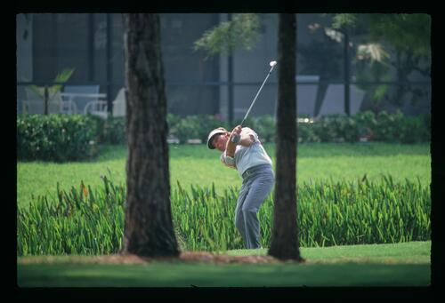 A view through the trees of Lanny Wadkins playing his shot from the rough at the 1991 U. S. PGA Championship at Crooked Stick