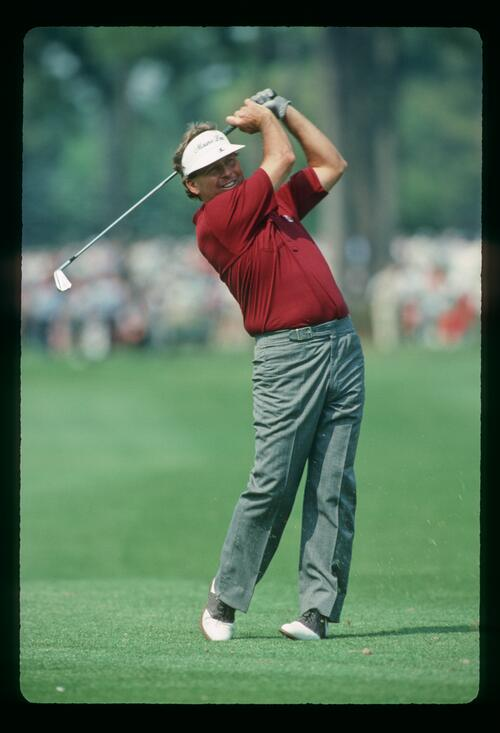 Golfer Lanny Wadkins plays his approach at the 1988 Heritage Classic at Harbour Town