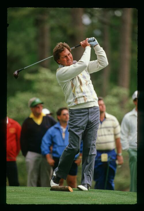 American golfer Lanny Wadkins on the tee at the 1988 Masters Championship at Augusta