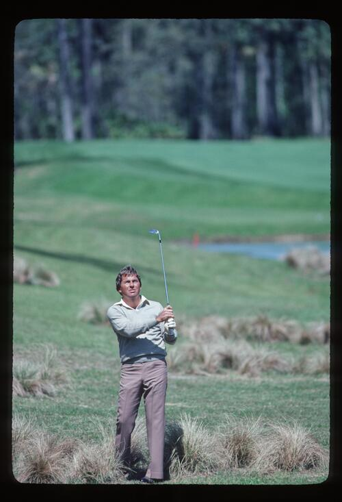 Lanny Wadkins plays his shot from the rough at the 1983 Players Championship at Sawgrass