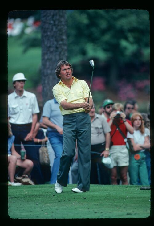 Golfer Lanny Wadkins on the tee at the 1981 Masters Championship at Augusta