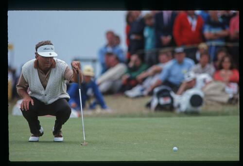 American golfer Lanny Wadkins lines up his putt at the 1992 Open Championship at Muirfield