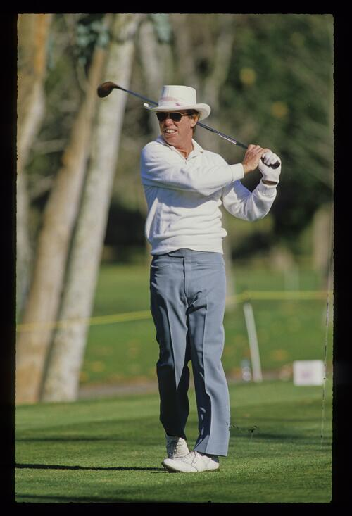 Butch Baird tees off at the 1982 Phoenix Open
