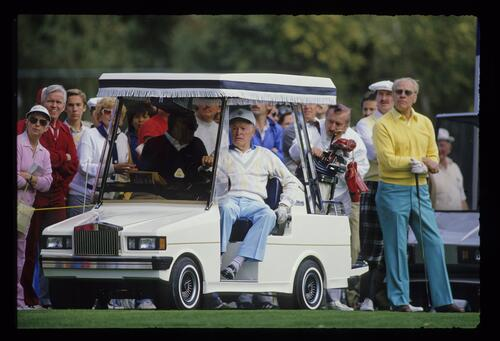 Comedian Bob Hope and former president Gerald Ford waiting to tee off at the 1987 Bob Hope Chrysler Classic