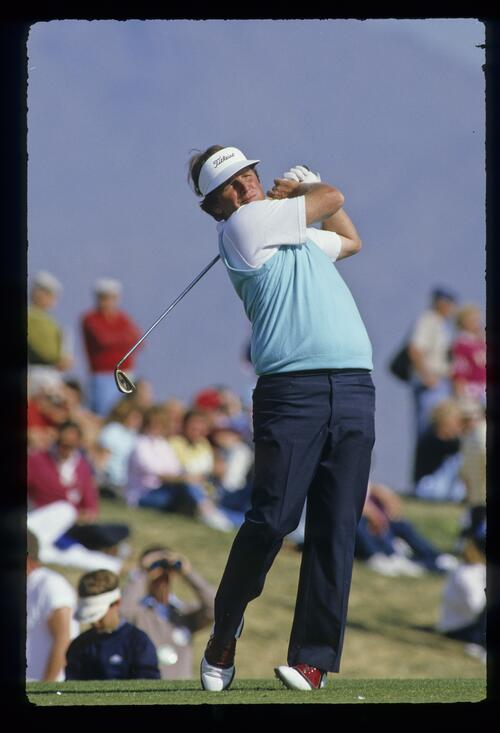 Mark Calcavecchia with a full follow through at the 1987 Phoenix Open