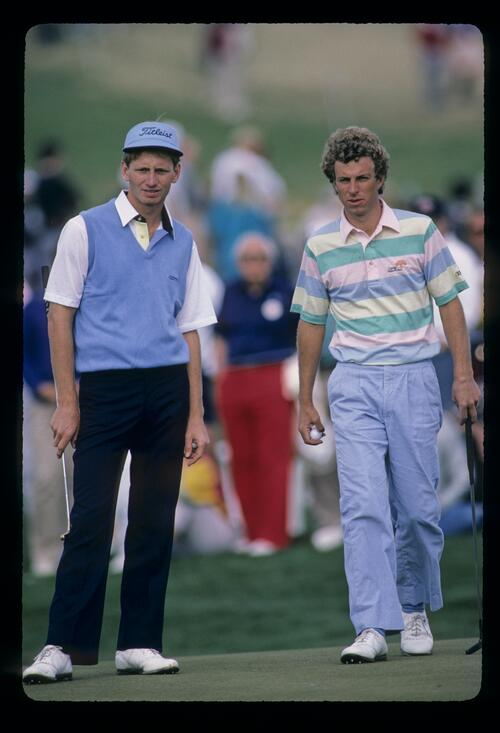 Bobby Clampett and playing partner on his way to a sixth place finish at the 1987 Phoenix Open
