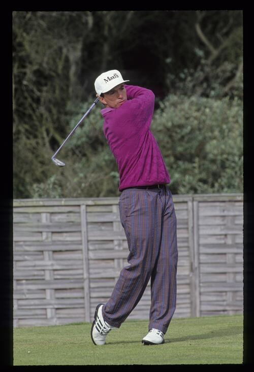 David Gilford taking iron from the tee at the 1992 Open Championship