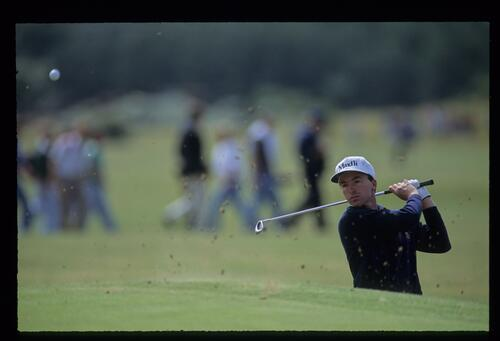 David Gilford choking down on a sand wedge to escape a bunker at the 1992 Open Championship