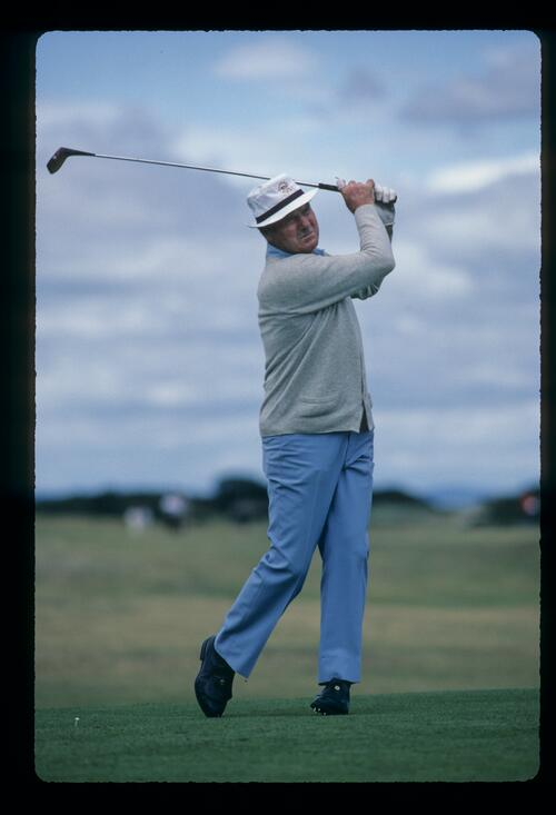 Australian golfer Kel Nagle driving on his way to ninth place at the 1984 Senior US Open