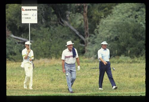 Australian golfers Kel Nagle and Peter Thomson walking down the fairway at the 1988 Bicentennial Classic