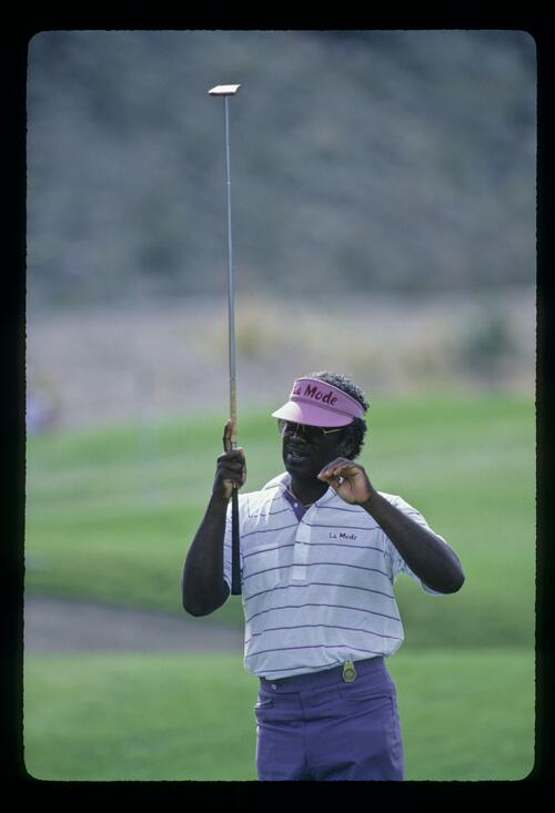 American golfer Charles Owens looking concerned after a putt with his belly putter at the 1986 Vintage Invitational