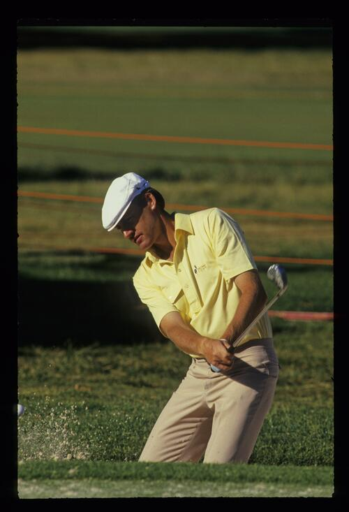 New Zealand golfer Simon Owen coming out of the sand at the 1988 Australian Open