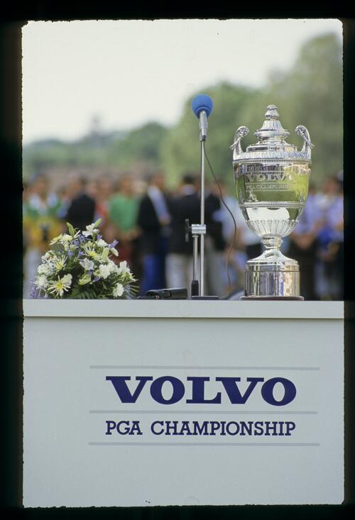 The Volvo PGA Trophy awaiting the 1989 winner, Nick Faldo