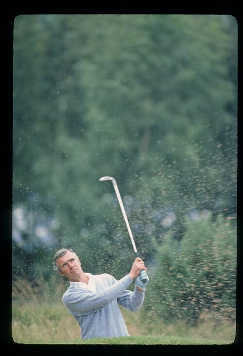 English golfer Brian Waites exploding from a bunker at the 1980 Haig Whisky TPC