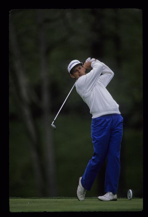 American golfer and TV commentator Robert Wrenn holding his follow through at the 1989 Memorial Tournament