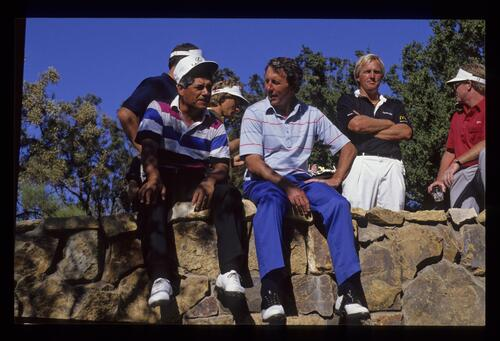 Lee Trevino, Hale Irwin, Greg Norman and Tom Kite taking time out at the 1990 Ronald McDonald Children's Charity tournament