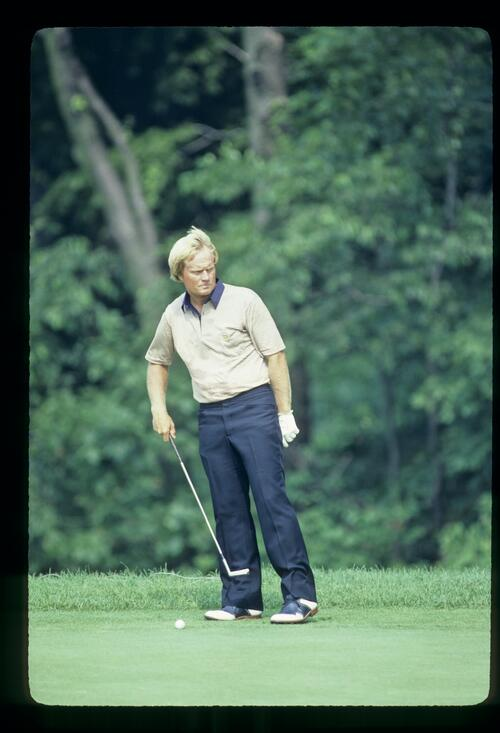 Jack Nicklaus preparing for a long putt during the 1981 US Open