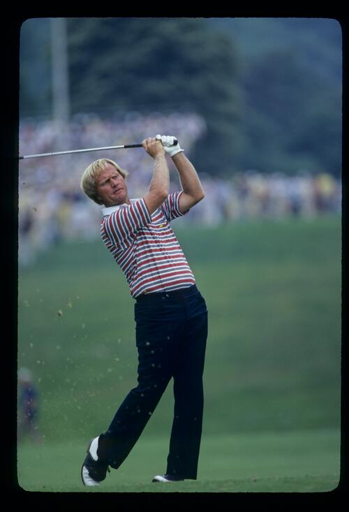 Jack Nicklaus following through during the 1981 US Open