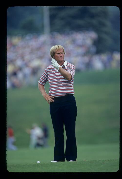 Jack Nicklaus gesturing with his hand during the 1981 US Open