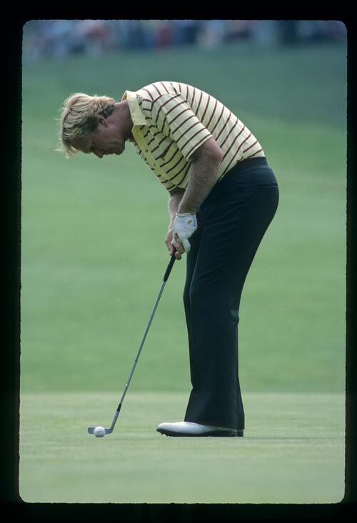 Jack Nicklaus about to putt during the 1981 US Open