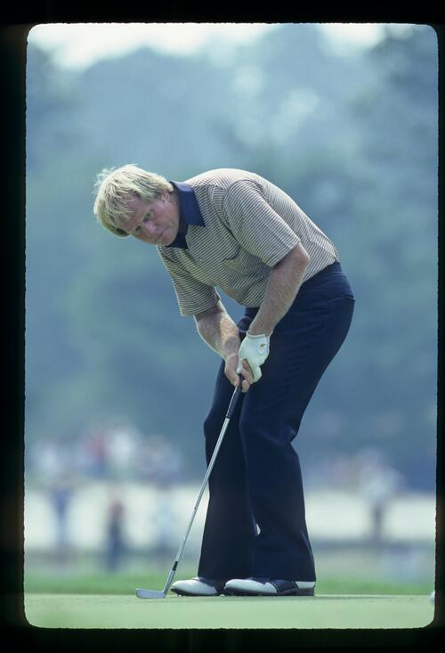 Jack Nicklaus staring after a putt during the 1981 US Open
