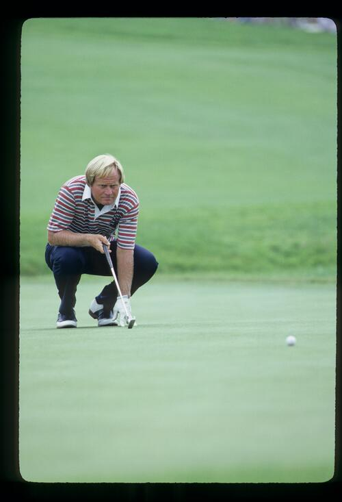 Jack Nicklaus lining up a putt during the 1981 US Open