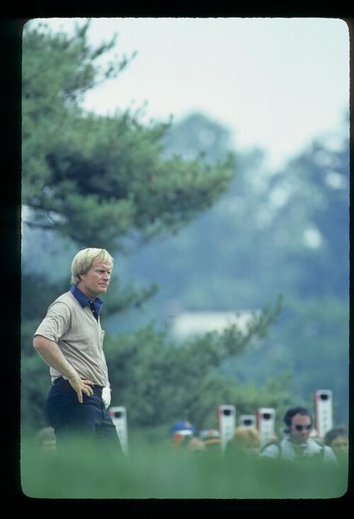 Jack Nicklaus standing hands on hips during the 1981 US Open