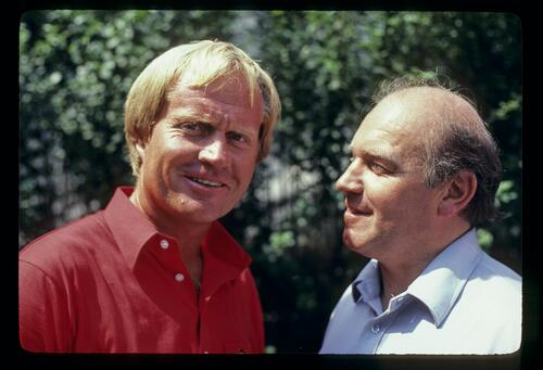 Jack Nicklaus being interviewed during the 1981 US Open