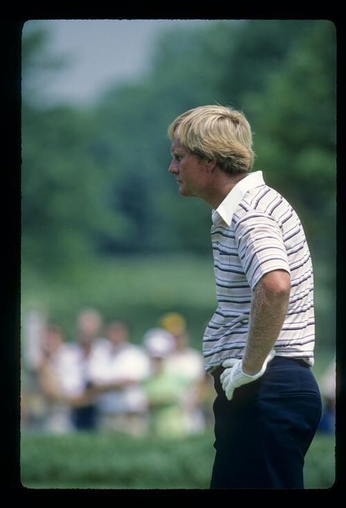 Jack Nicklaus deep in thought during the 1981 US Open