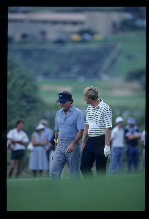 Jack Nicklaus and Lanny Wadkins in conversation on the fairway during the 1982 Sun City Challenge